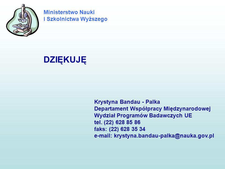Ministerstwo Nauki i Szkolnictwa Wyższego DZIĘKUJĘ Krystyna Bandau - Palka Departament Współpracy Międzynarodowej Wydział Programów Badawczych UE tel.