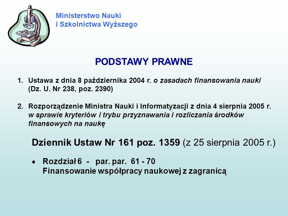 Ministerstwo Nauki i Szkolnictwa Wyższego PODSTAWY PRAWNE 1.Ustawa z dnia 8 października 2004 r. o zasadach finansowania nauki (Dz. U. Nr 238, poz. 23