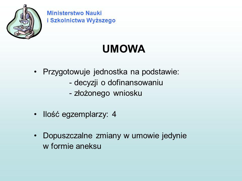 Ministerstwo Nauki i Szkolnictwa Wyższego UMOWA Przygotowuje jednostka na podstawie: - decyzji o dofinansowaniu - złożonego wniosku Ilość egzemplarzy: