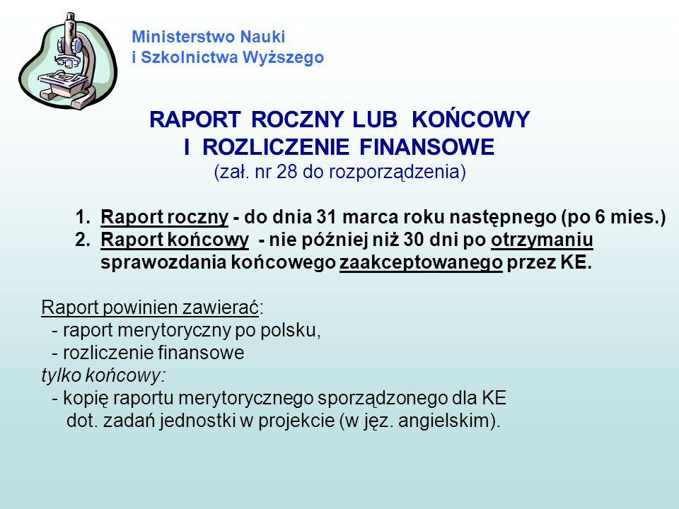 Ministerstwo Nauki i Szkolnictwa Wyższego RAPORT ROCZNY LUB KOŃCOWY I ROZLICZENIE FINANSOWE (zał. nr 28 do rozporządzenia) 1.Raport roczny - do dnia 3