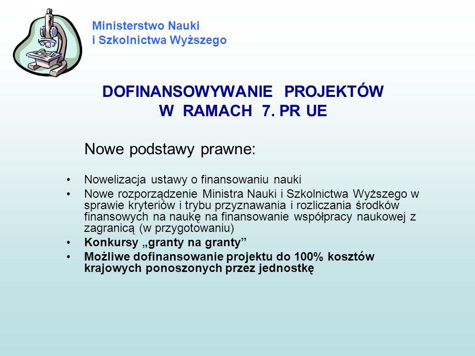 Ministerstwo Nauki i Szkolnictwa Wyższego DOFINANSOWYWANIE PROJEKTÓW W RAMACH 7. PR UE Nowe podstawy prawne: Nowelizacja ustawy o finansowaniu nauki N