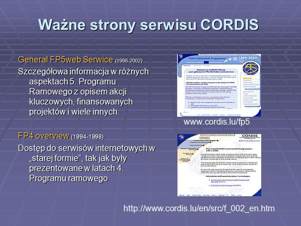Bazy CORDIS Podstawowe bazy danych systemu CORDIS (1): Oficjalne dokumenty Komisji Europejskiej Baza wiadomości Główne dokumenty Publikacje http://dbs.cordis.lu/search/en/simple/EN_COMD_simple.html http://dbs.cordis.lu/search/en/simple/EN_NEWS_simple.html http://dbs.cordis.lu/search/en/simple/EN_DOCS_simple.html http://dbs.cordis.lu/search/en/simple/EN_PUBL_simple.html Najłatwiej znajdziesz informację przeszukując, wg.