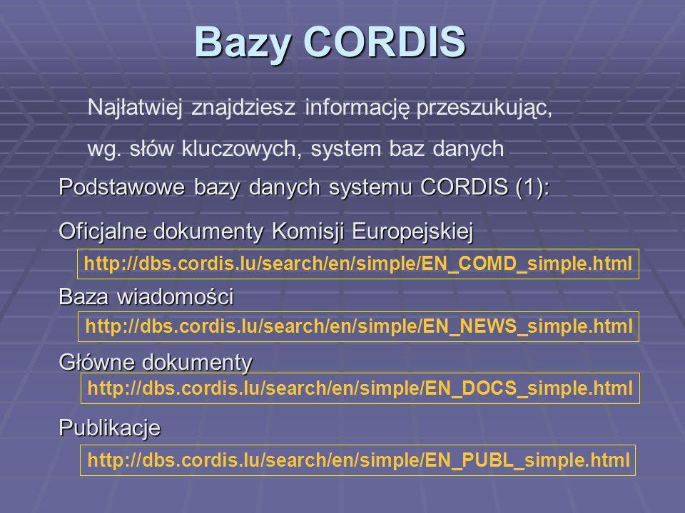 Bazy CORDIS Podstawowe bazy danych systemu CORDIS (2): Programy (nie tylko 5.PR ale także poprzednie) Projekty (nie tylko akcje kluczowe) Wyniki (każdy projekt kończy się czymś) Partnerzy do współpracy http://dbs.cordis.lu/search/en/simple/EN_PROG_simple.html http://dbs.cordis.lu/search/en/simple/EN_PROJI_simple.html http://dbs.cordis.lu/search/en/simple/EN_RESU_simple.htmll http://dbs.cordis.lu/search/en/simple/EN_PART_simple.html