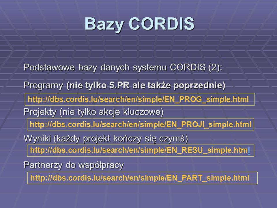 Poszukiwanie partnerów Zadanie; znaleźć się w dobrym towarzystwie: Zadanie; znaleźć się w dobrym towarzystwie: Expression of Interest (CORDIS) Partner search (CORDIS) Partner search database for Accession States Polska baza danych http://eoi.cordis.lu/search_form.cfm http://www.6pr.pl/s5o/partnerzy/partner.html http://www.dlr.de/pia/ http://dbs.cordis.lu/en/src/i_005_en.htm