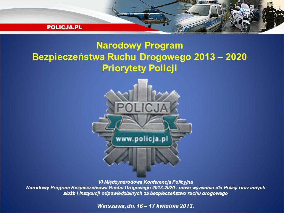 Narodowy Program Bezpieczeństwa Ruchu Drogowego 2013 – 2020 Priorytety Policji VI Międzynarodowa Konferencja Policyjna Narodowy Program Bezpieczeństwa