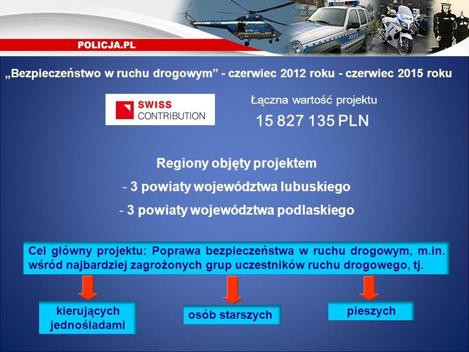 Bezpieczeństwo w ruchu drogowym - czerwiec 2012 roku - czerwiec 2015 roku Łączna wartość projektu 15 827 135 PLN Regiony objęty projektem - 3 powiaty
