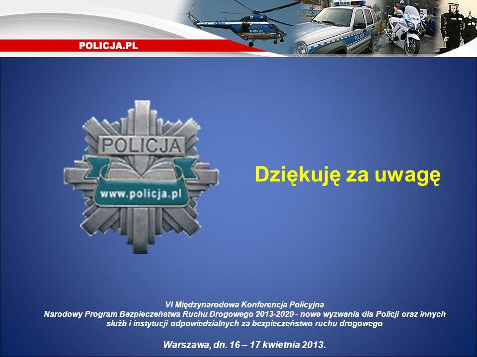 Dziękuję za uwagę VI Międzynarodowa Konferencja Policyjna Narodowy Program Bezpieczeństwa Ruchu Drogowego 2013-2020 - nowe wyzwania dla Policji oraz i