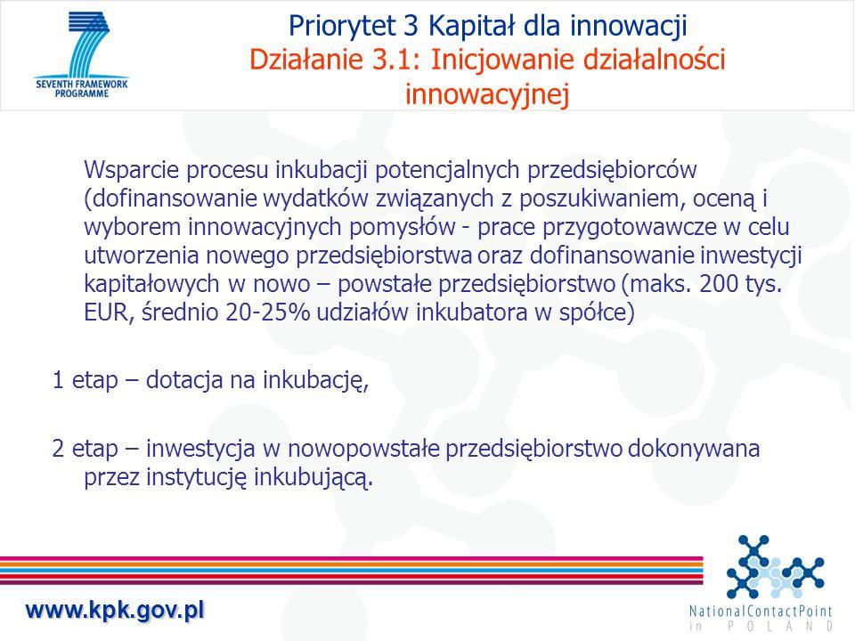 www.kpk.gov.pl Priorytet 3 Kapitał dla innowacji Działanie 3.1: Inicjowanie działalności innowacyjnej Wsparcie procesu inkubacji potencjalnych przedsi