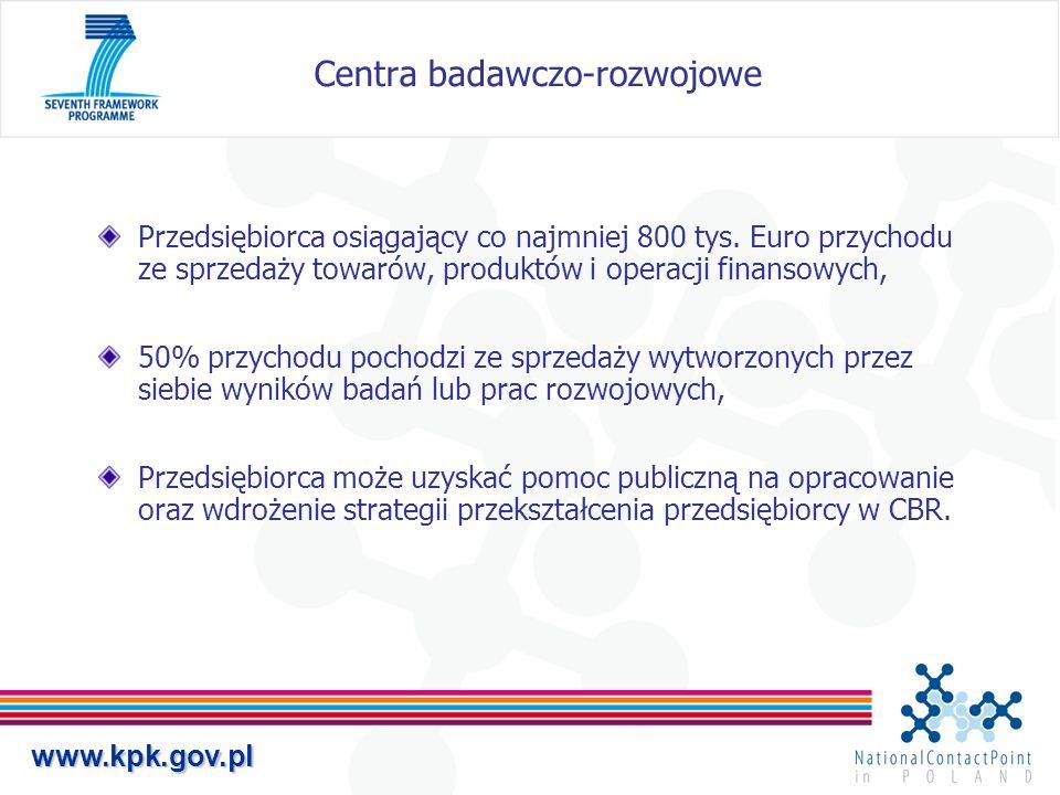 www.kpk.gov.pl Centra badawczo-rozwojowe Przedsiębiorca osiągający co najmniej 800 tys. Euro przychodu ze sprzedaży towarów, produktów i operacji fina