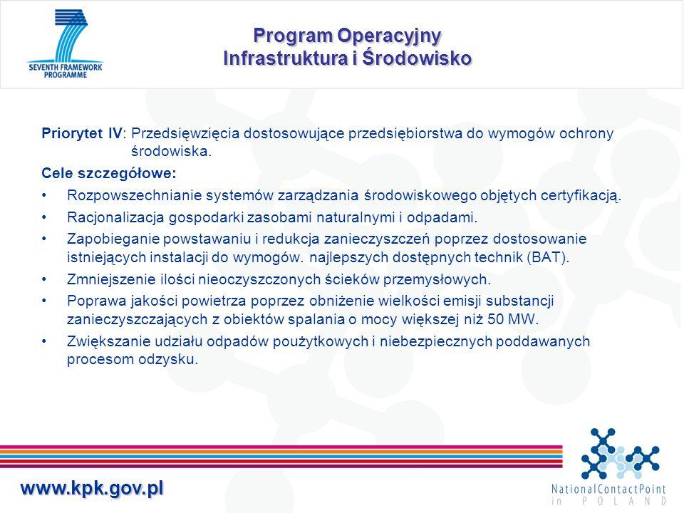 www.kpk.gov.pl Program Operacyjny Infrastruktura i Środowisko Priorytet IV: Przedsięwzięcia dostosowujące przedsiębiorstwa do wymogów ochrony środowis