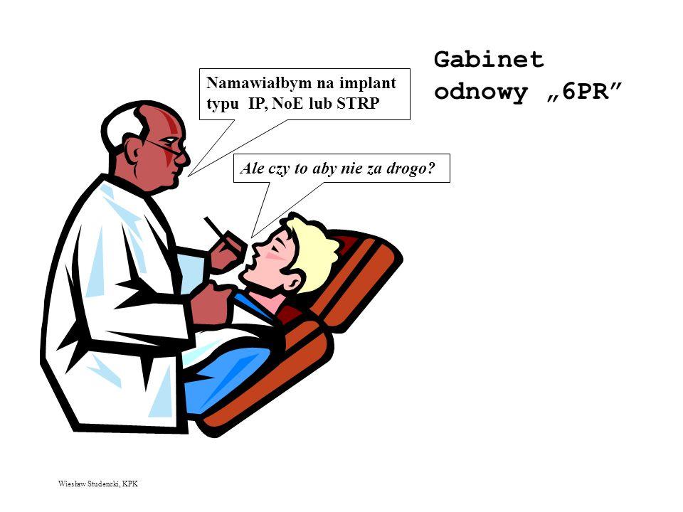 Wiesław Studencki, KPK Gabinet odnowy 6PR Namawiałbym na implant typu IP, NoE lub STRP Ale czy to aby nie za drogo