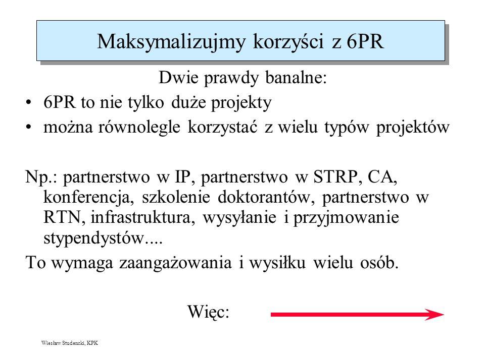 Wiesław Studencki, KPK Maksymalizujmy korzyści z 6PR Dwie prawdy banalne: 6PR to nie tylko duże projekty można równolegle korzystać z wielu typów projektów Np.: partnerstwo w IP, partnerstwo w STRP, CA, konferencja, szkolenie doktorantów, partnerstwo w RTN, infrastruktura, wysyłanie i przyjmowanie stypendystów....