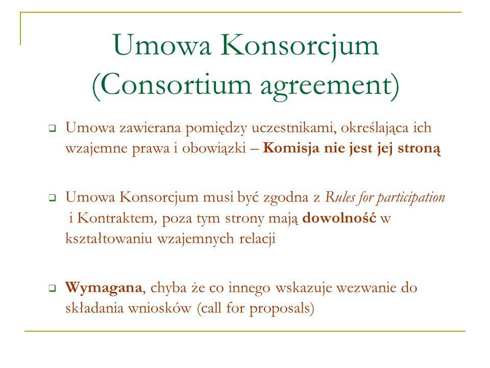 Umowa Konsorcjum (Consortium agreement) Umowa zawierana pomiędzy uczestnikami, określająca ich wzajemne prawa i obowiązki – Komisja nie jest jej stron
