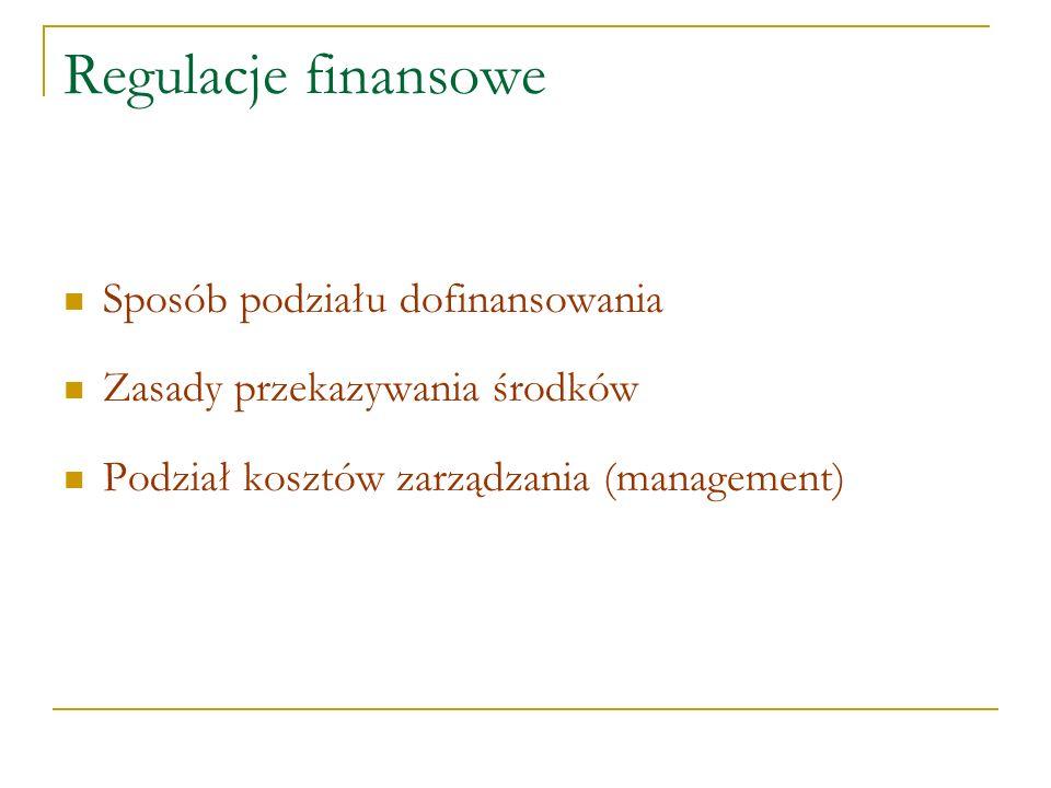 Regulacje finansowe Sposób podziału dofinansowania Zasady przekazywania środków Podział kosztów zarządzania (management)
