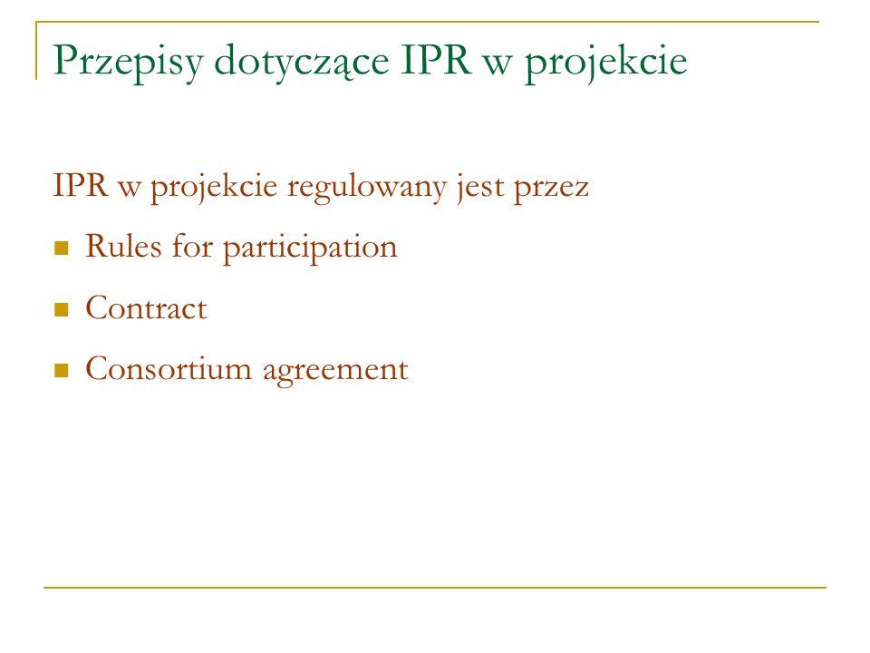 Przepisy dotyczące IPR w projekcie IPR w projekcie regulowany jest przez Rules for participation Contract Consortium agreement