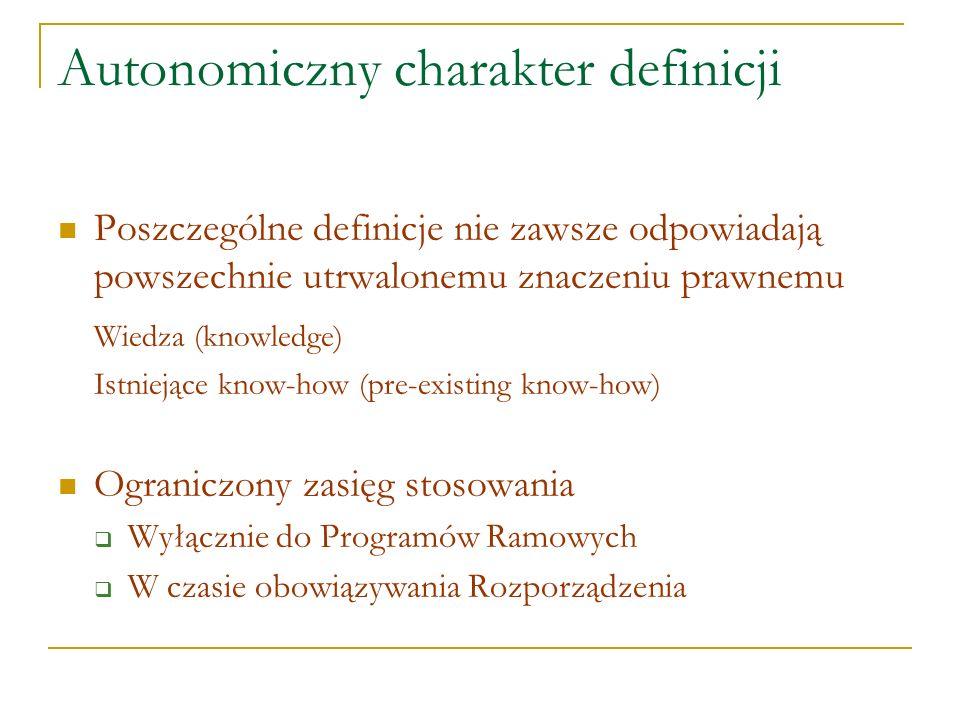 Autonomiczny charakter definicji Poszczególne definicje nie zawsze odpowiadają powszechnie utrwalonemu znaczeniu prawnemu Wiedza (knowledge) Istniejąc