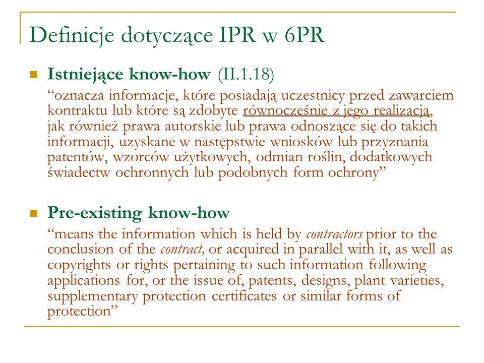 Definicje dotyczące IPR w 6PR Istniejące know-how (II.1.18) oznacza informacje, które posiadają uczestnicy przed zawarciem kontraktu lub które są zdob