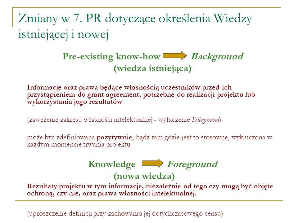 Zmiany w 7. PR dotyczące określenia Wiedzy istniejącej i nowej Pre-existing know-how Background (wiedza istniejąca) Informacje oraz prawa będące własn