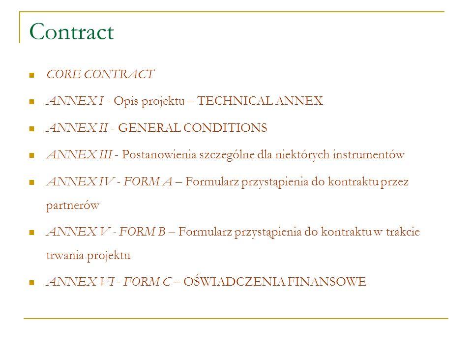 Kontrakt wiąże wszystkich partnerów z Komisją Jest sporządzony wg wzoru (tzw.