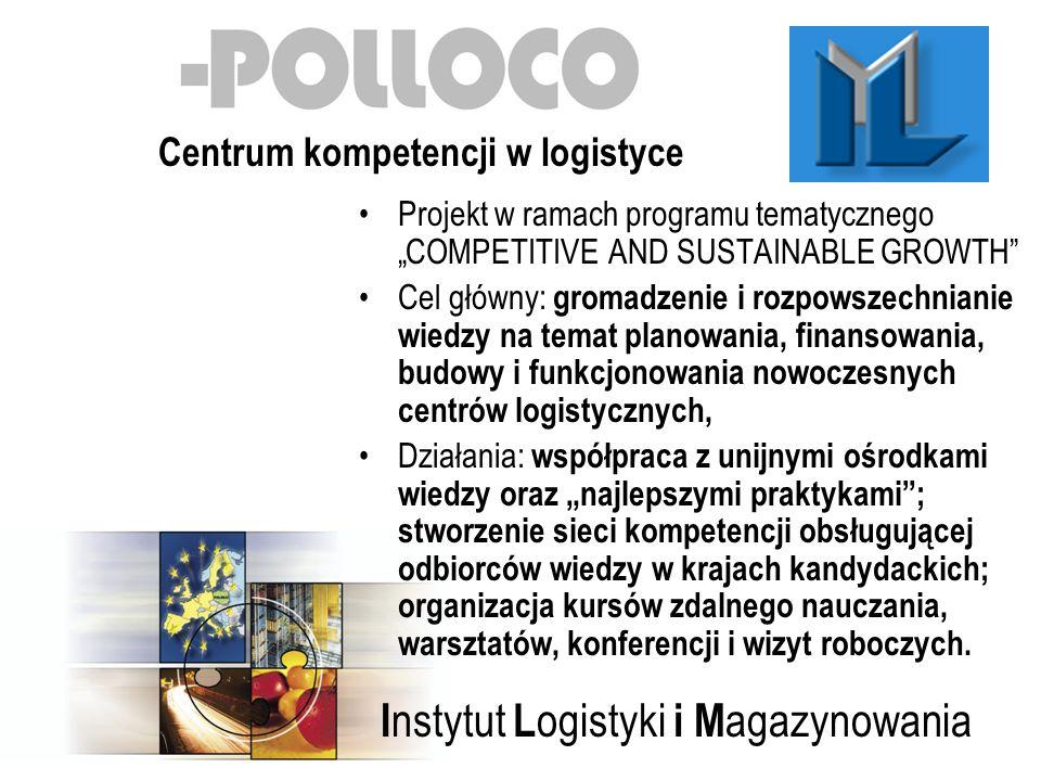 I nstytut L ogistyki i M agazynowania Projekt w ramach programu tematycznego COMPETITIVE AND SUSTAINABLE GROWTH Cel główny: gromadzenie i rozpowszechnianie wiedzy na temat planowania, finansowania, budowy i funkcjonowania nowoczesnych centrów logistycznych, Działania: współpraca z unijnymi ośrodkami wiedzy oraz najlepszymi praktykami; stworzenie sieci kompetencji obsługującej odbiorców wiedzy w krajach kandydackich; organizacja kursów zdalnego nauczania, warsztatów, konferencji i wizyt roboczych.