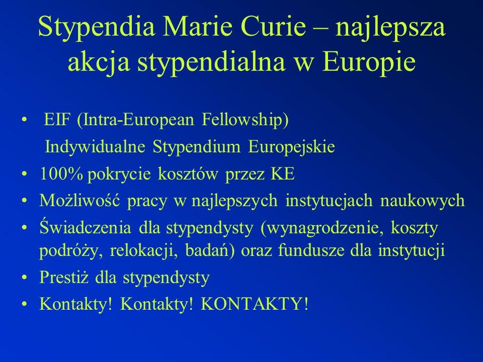 Stypendia Marie Curie – najlepsza akcja stypendialna w Europie EIF (Intra-European Fellowship) Indywidualne Stypendium Europejskie 100% pokrycie kosztów przez KE Możliwość pracy w najlepszych instytucjach naukowych Świadczenia dla stypendysty (wynagrodzenie, koszty podróży, relokacji, badań) oraz fundusze dla instytucji Prestiż dla stypendysty Kontakty.