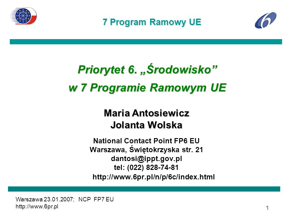 Warszawa 23.01.2007; e-mail: dantosi@ippt.gov.pl; NCP FP7EU; http://www.6pr.pl 12 6.1.1.