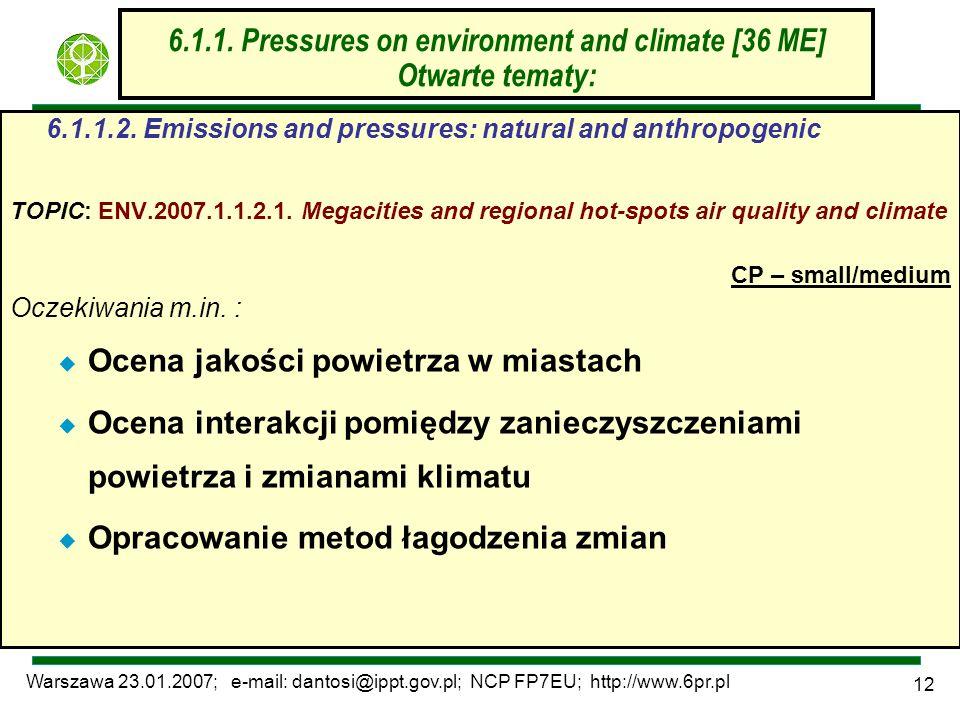 Warszawa 23.01.2007; e-mail: dantosi@ippt.gov.pl; NCP FP7EU; http://www.6pr.pl 12 6.1.1. Pressures on environment and climate [36 ME] Otwarte tematy: