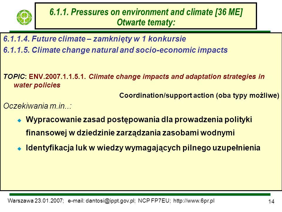 Warszawa 23.01.2007; e-mail: dantosi@ippt.gov.pl; NCP FP7EU; http://www.6pr.pl 14 6.1.1. Pressures on environment and climate [36 ME] Otwarte tematy: