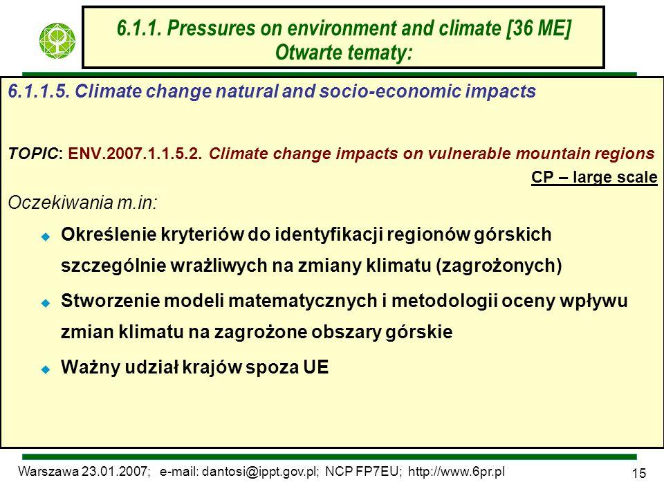 Warszawa 23.01.2007; e-mail: dantosi@ippt.gov.pl; NCP FP7EU; http://www.6pr.pl 15 6.1.1. Pressures on environment and climate [36 ME] Otwarte tematy: