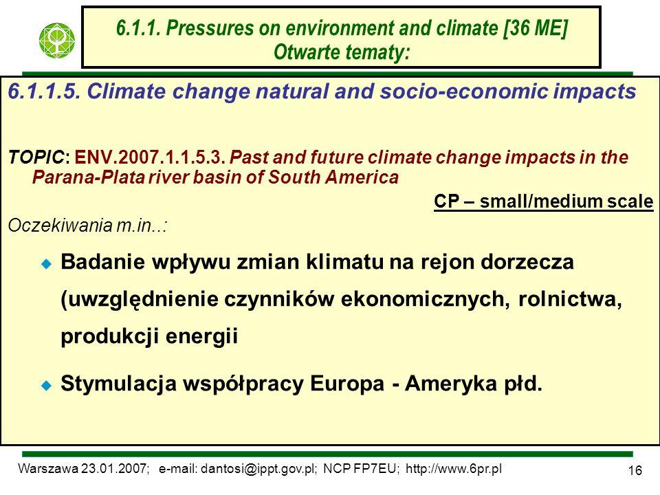 Warszawa 23.01.2007; e-mail: dantosi@ippt.gov.pl; NCP FP7EU; http://www.6pr.pl 16 6.1.1. Pressures on environment and climate [36 ME] Otwarte tematy: