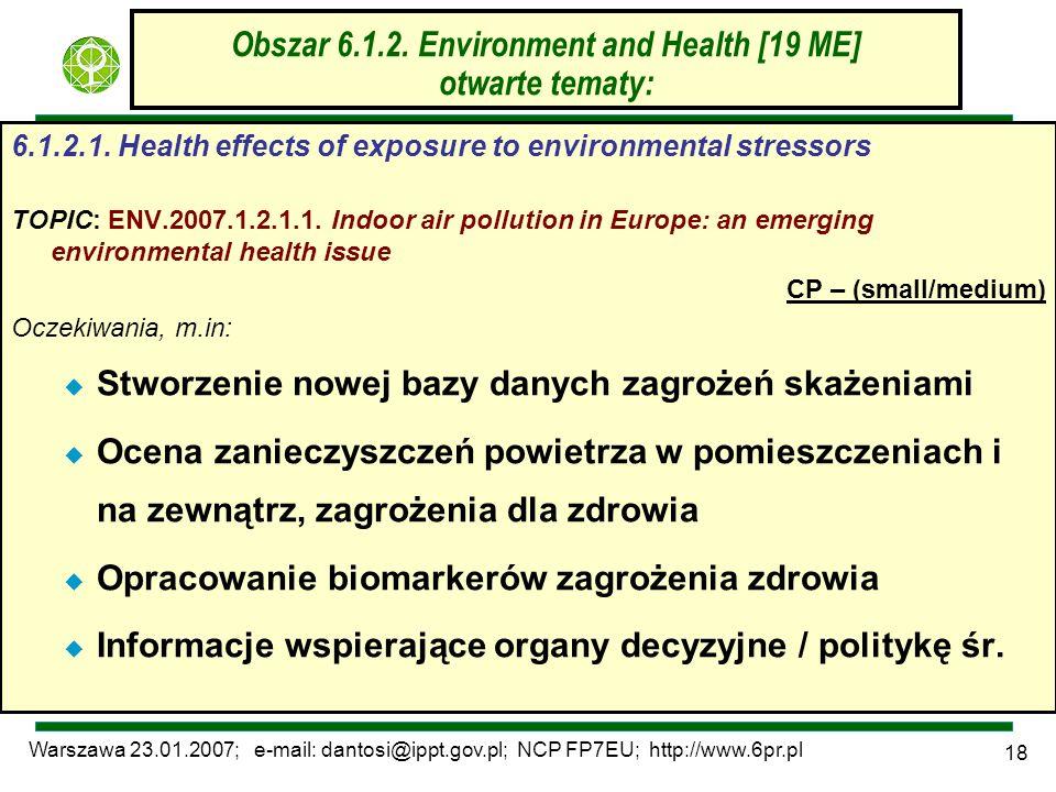 Warszawa 23.01.2007; e-mail: dantosi@ippt.gov.pl; NCP FP7EU; http://www.6pr.pl 18 Obszar 6.1.2. Environment and Health [19 ME] otwarte tematy: 6.1.2.1