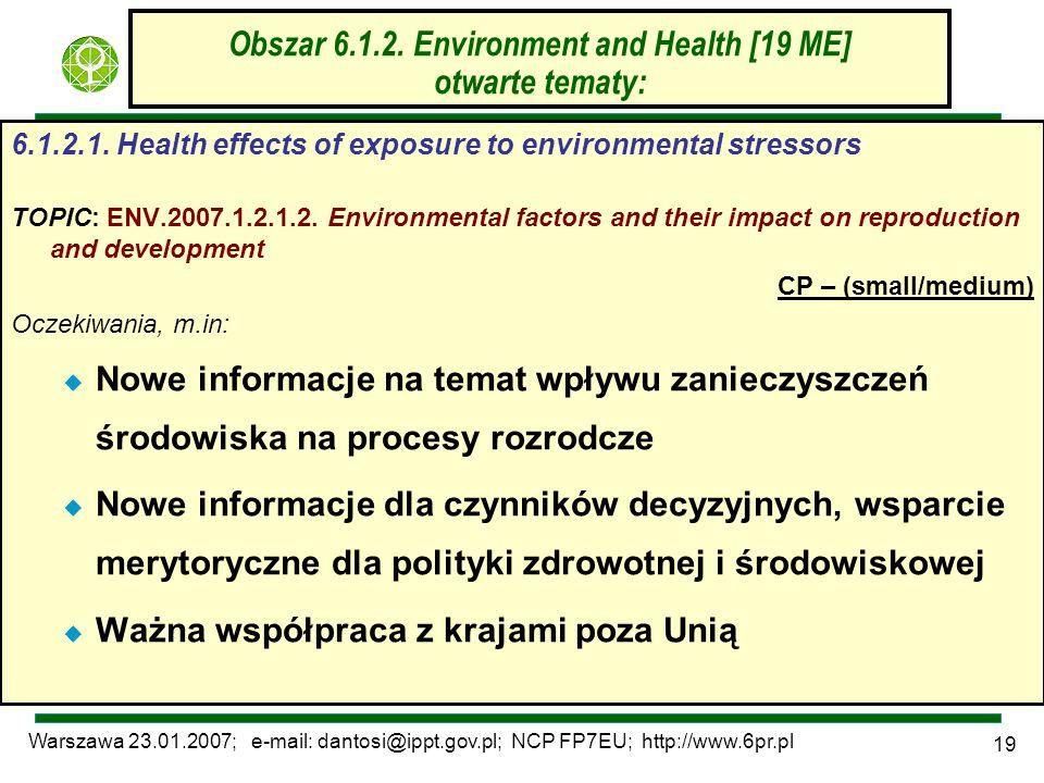 Warszawa 23.01.2007; e-mail: dantosi@ippt.gov.pl; NCP FP7EU; http://www.6pr.pl 19 Obszar 6.1.2. Environment and Health [19 ME] otwarte tematy: 6.1.2.1
