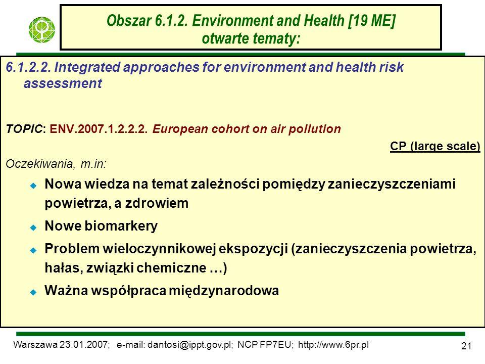 Warszawa 23.01.2007; e-mail: dantosi@ippt.gov.pl; NCP FP7EU; http://www.6pr.pl 21 Obszar 6.1.2. Environment and Health [19 ME] otwarte tematy: 6.1.2.2