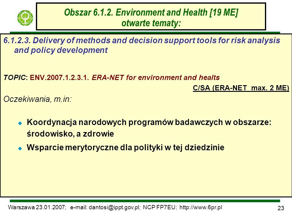 Warszawa 23.01.2007; e-mail: dantosi@ippt.gov.pl; NCP FP7EU; http://www.6pr.pl 23 Obszar 6.1.2. Environment and Health [19 ME] otwarte tematy: 6.1.2.3