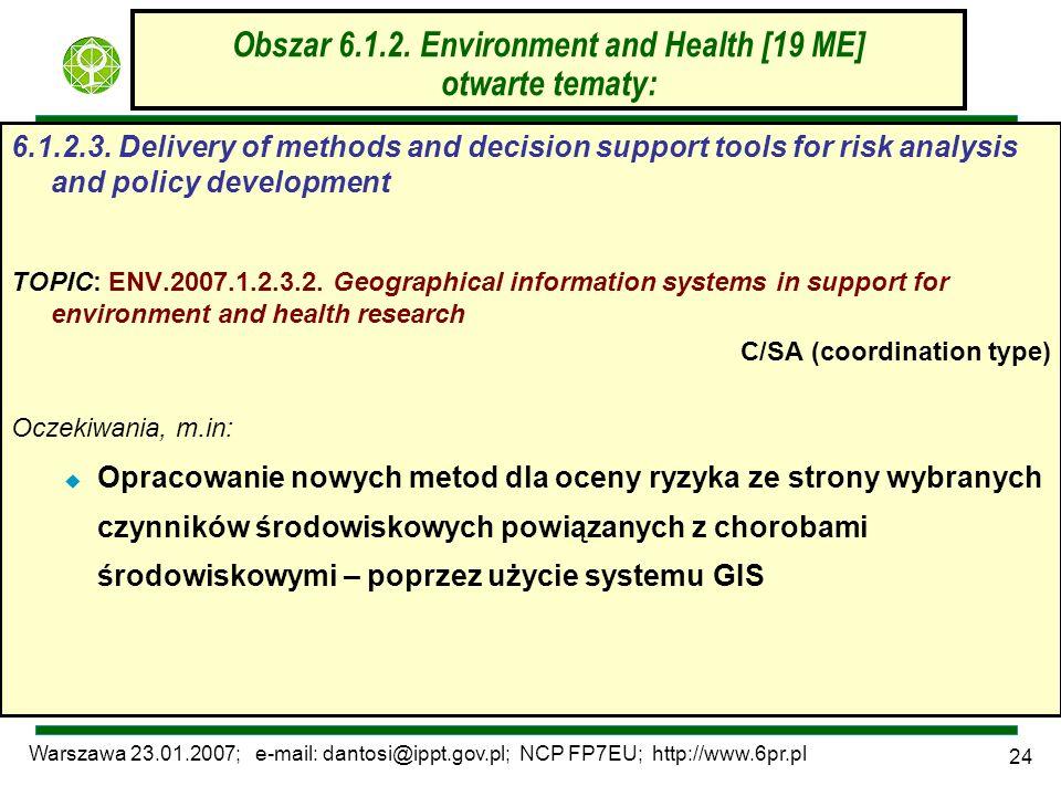 Warszawa 23.01.2007; e-mail: dantosi@ippt.gov.pl; NCP FP7EU; http://www.6pr.pl 24 Obszar 6.1.2. Environment and Health [19 ME] otwarte tematy: 6.1.2.3