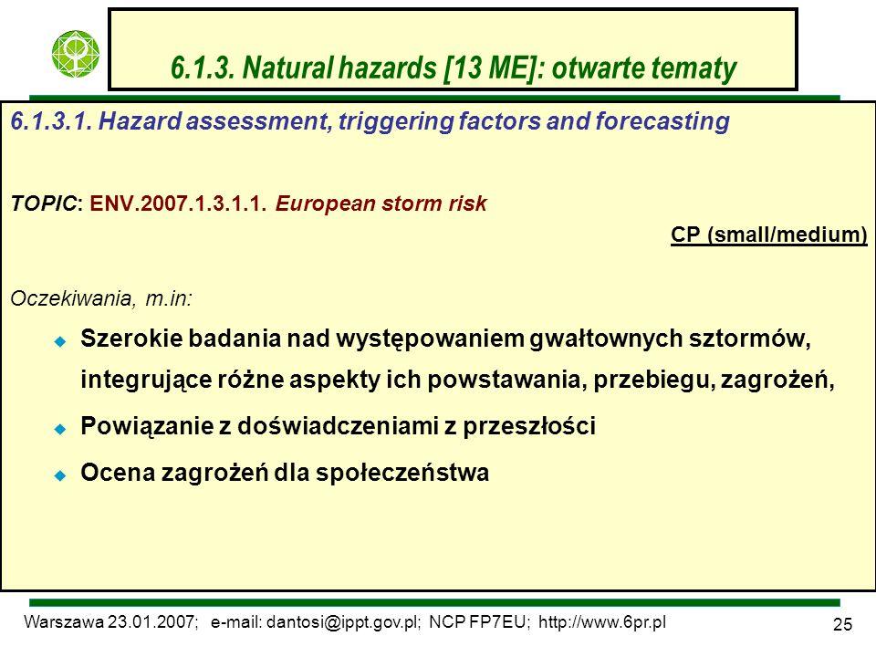 Warszawa 23.01.2007; e-mail: dantosi@ippt.gov.pl; NCP FP7EU; http://www.6pr.pl 25 6.1.3. Natural hazards [13 ME]: otwarte tematy 6.1.3.1. Hazard asses