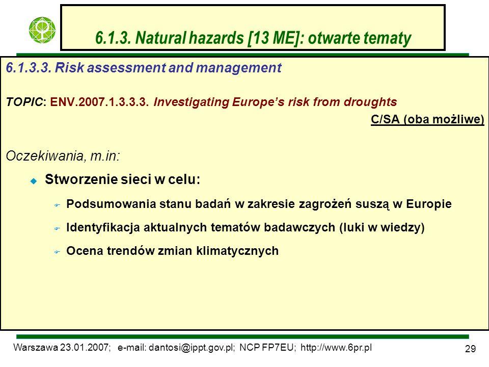 Warszawa 23.01.2007; e-mail: dantosi@ippt.gov.pl; NCP FP7EU; http://www.6pr.pl 29 6.1.3. Natural hazards [13 ME]: otwarte tematy 6.1.3.3. Risk assessm