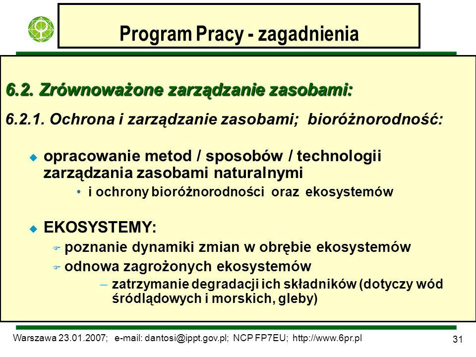 Warszawa 23.01.2007; e-mail: dantosi@ippt.gov.pl; NCP FP7EU; http://www.6pr.pl 31 Program Pracy - zagadnienia 6.2. Zrównoważone zarządzanie zasobami: