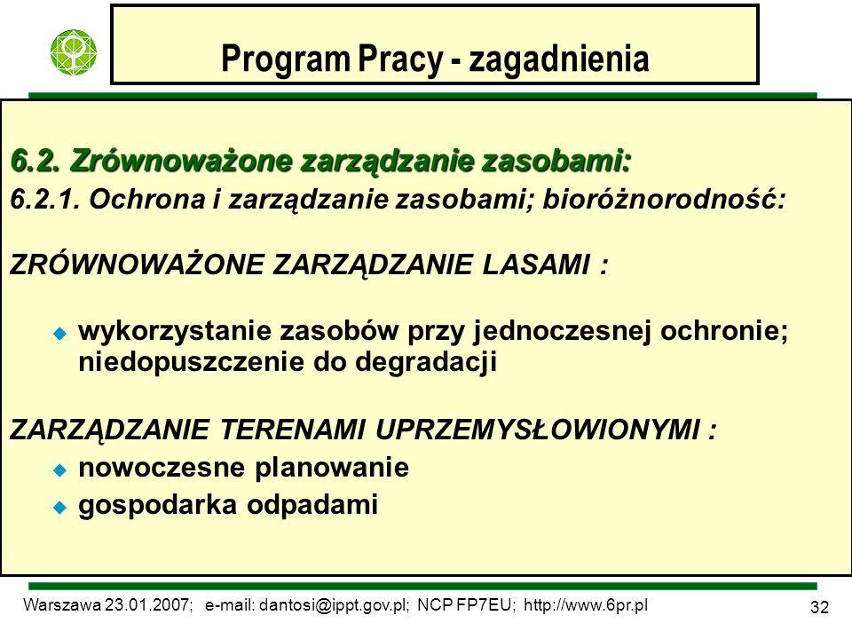 Warszawa 23.01.2007; e-mail: dantosi@ippt.gov.pl; NCP FP7EU; http://www.6pr.pl 32 Program Pracy - zagadnienia 6.2. Zrównoważone zarządzanie zasobami: