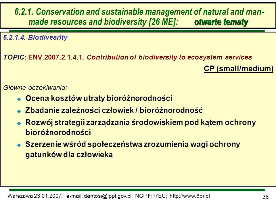 Warszawa 23.01.2007; e-mail: dantosi@ippt.gov.pl; NCP FP7EU; http://www.6pr.pl 38 6.2. Zrównoważone zarządzanie zasobami – otwarte tematy 6.2.1.4. Bio