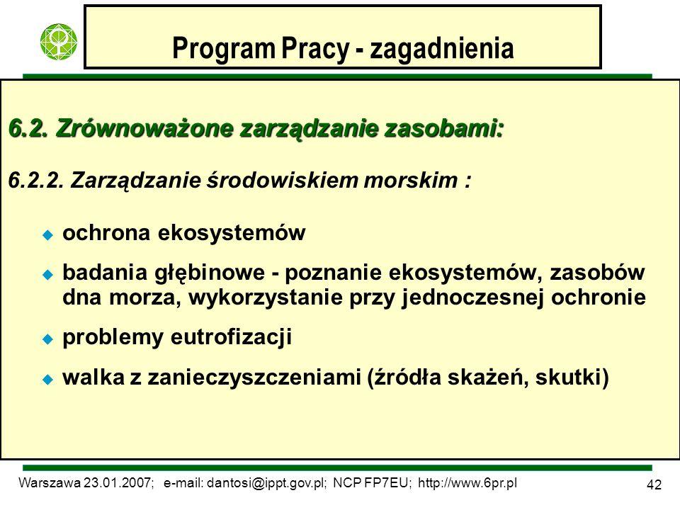 Warszawa 23.01.2007; e-mail: dantosi@ippt.gov.pl; NCP FP7EU; http://www.6pr.pl 42 Program Pracy - zagadnienia 6.2. Zrównoważone zarządzanie zasobami: