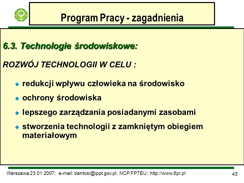 Warszawa 23.01.2007; e-mail: dantosi@ippt.gov.pl; NCP FP7EU; http://www.6pr.pl 43 Program Pracy - zagadnienia 6.3. Technologie środowiskowe: ROZWÓJ TE