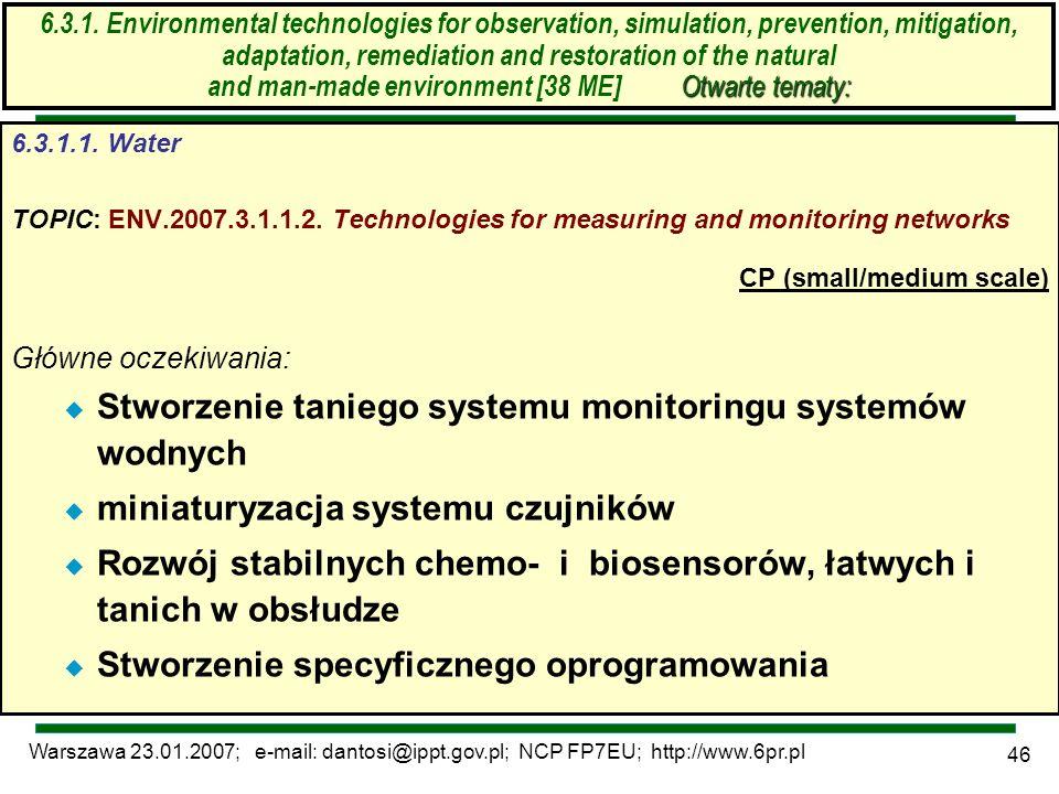 Warszawa 23.01.2007; e-mail: dantosi@ippt.gov.pl; NCP FP7EU; http://www.6pr.pl 46 Otwarte tematy: 6.3.1. Environmental technologies for observation, s