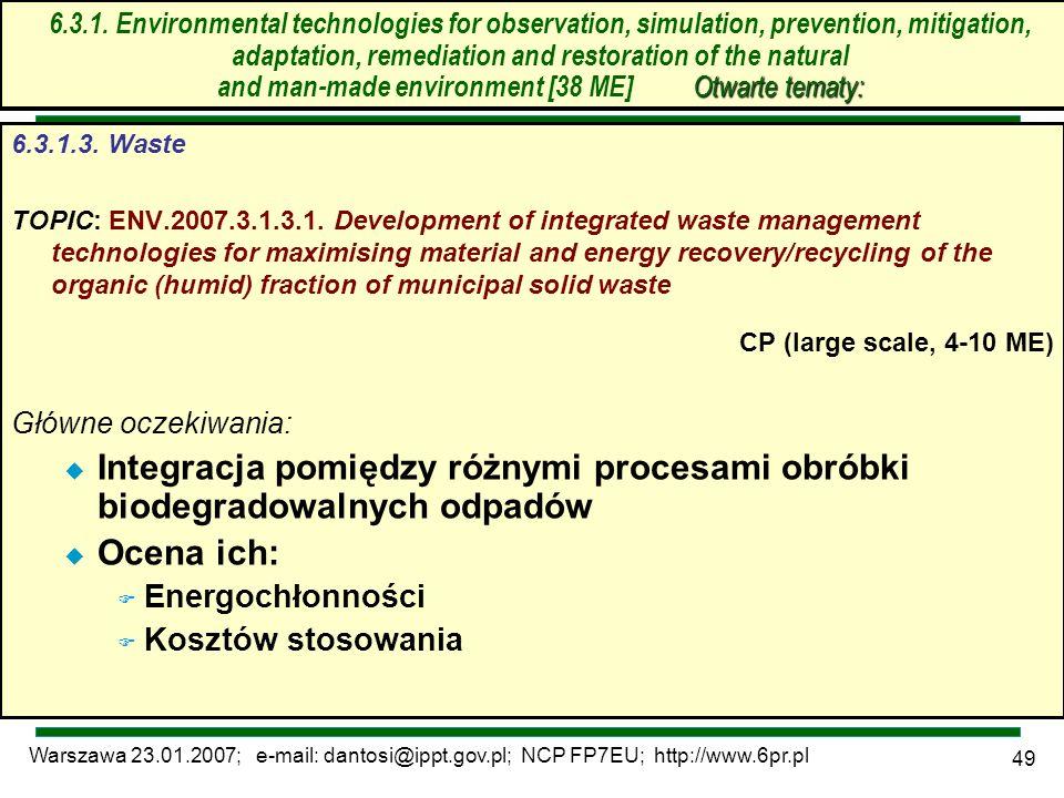 Warszawa 23.01.2007; e-mail: dantosi@ippt.gov.pl; NCP FP7EU; http://www.6pr.pl 49 6.3. Technologie środowiskowe – otwarte tematy 6.3.1.3. Waste TOPIC: