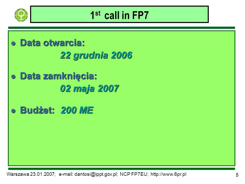 Warszawa 23.01.2007; e-mail: dantosi@ippt.gov.pl; NCP FP7EU; http://www.6pr.pl 5 1 st call in FP7 l Data otwarcia: 22 grudnia 2006 l Data zamknięcia: