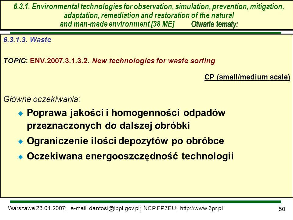 Warszawa 23.01.2007; e-mail: dantosi@ippt.gov.pl; NCP FP7EU; http://www.6pr.pl 50 6.3. Technologie środowiskowe – otwarte tematy 6.3.1.3. Waste TOPIC: