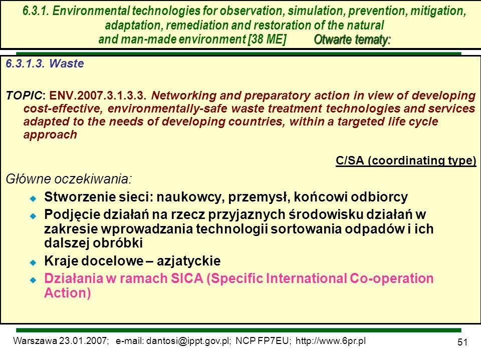 Warszawa 23.01.2007; e-mail: dantosi@ippt.gov.pl; NCP FP7EU; http://www.6pr.pl 51 6.3. Technologie środowiskowe – otwarte tematy 6.3.1.3. Waste TOPIC: