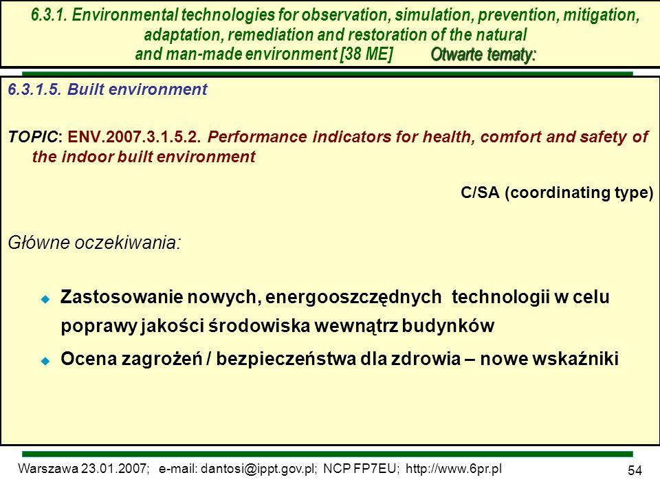Warszawa 23.01.2007; e-mail: dantosi@ippt.gov.pl; NCP FP7EU; http://www.6pr.pl 54 6.3. Technologie środowiskowe – otwarte tematy 6.3.1.5. Built enviro