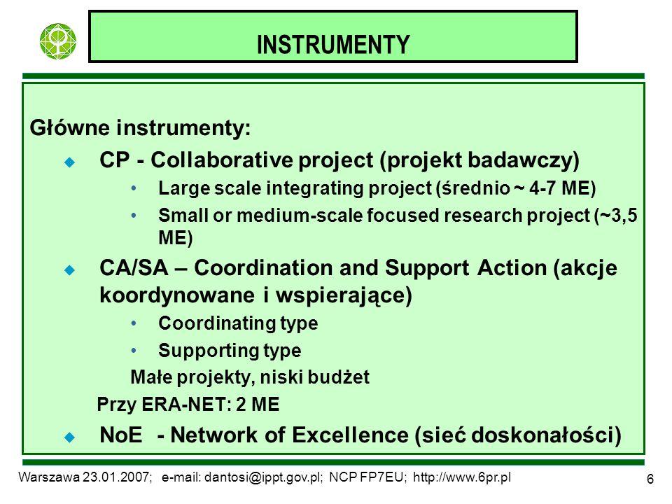 Warszawa 23.01.2007; e-mail: dantosi@ippt.gov.pl; NCP FP7EU; http://www.6pr.pl 6 INSTRUMENTY Główne instrumenty: u CP - Collaborative project (projekt