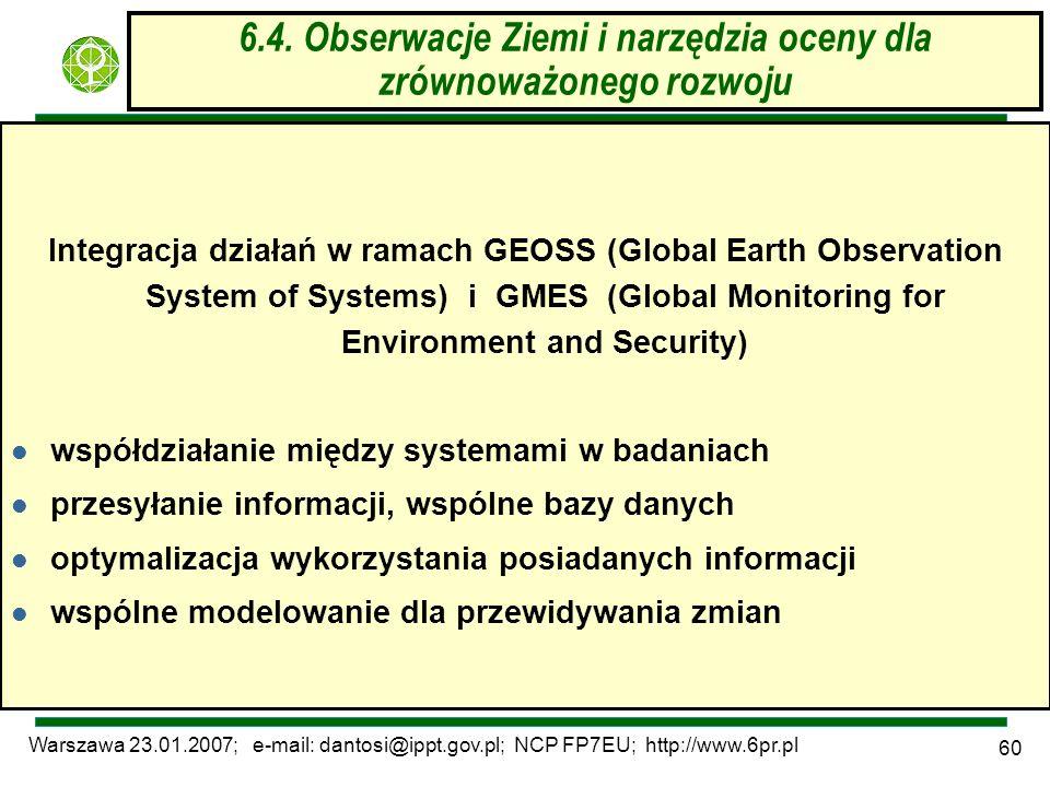 Warszawa 23.01.2007; e-mail: dantosi@ippt.gov.pl; NCP FP7EU; http://www.6pr.pl 60 6.4. Obserwacje Ziemi i narzędzia oceny dla zrównoważonego rozwoju I